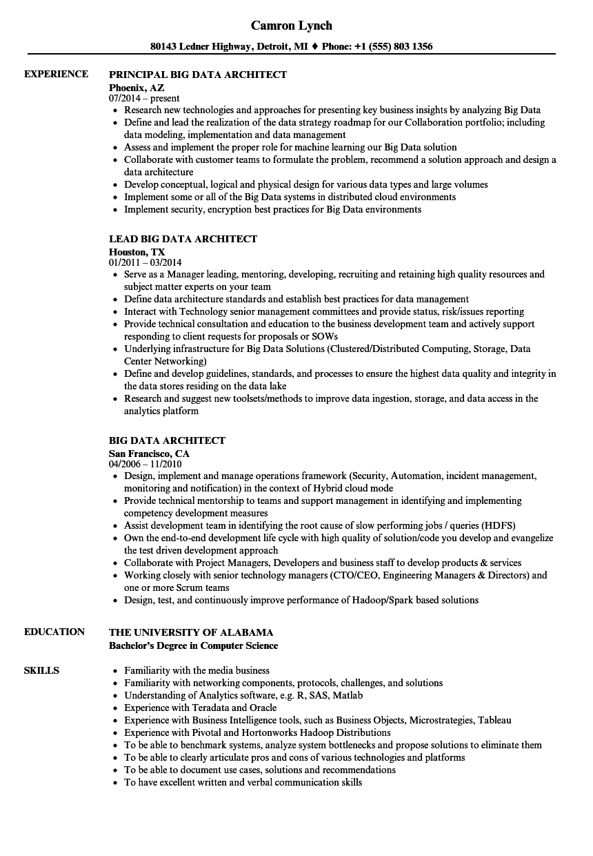 Big Data Architect Resume Samples  Velvet Jobs