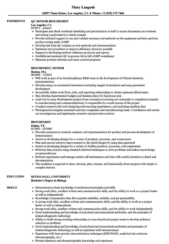 biochemistry graduate sample resume