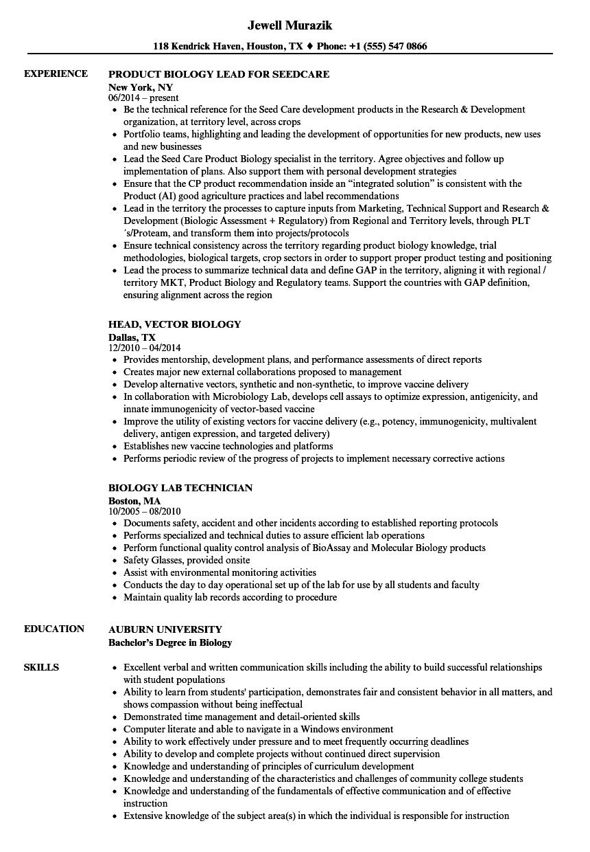 Biology Resume Samples Velvet Jobs