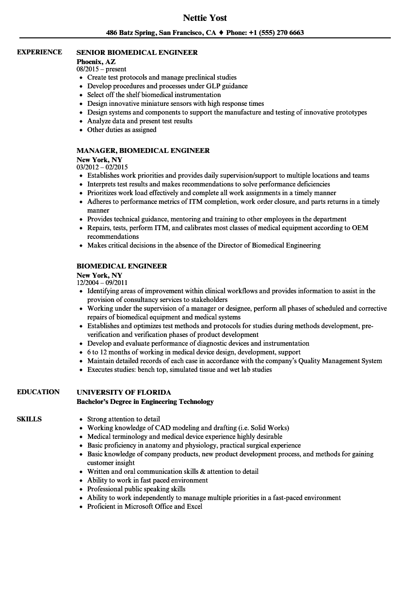 biomedical resume template