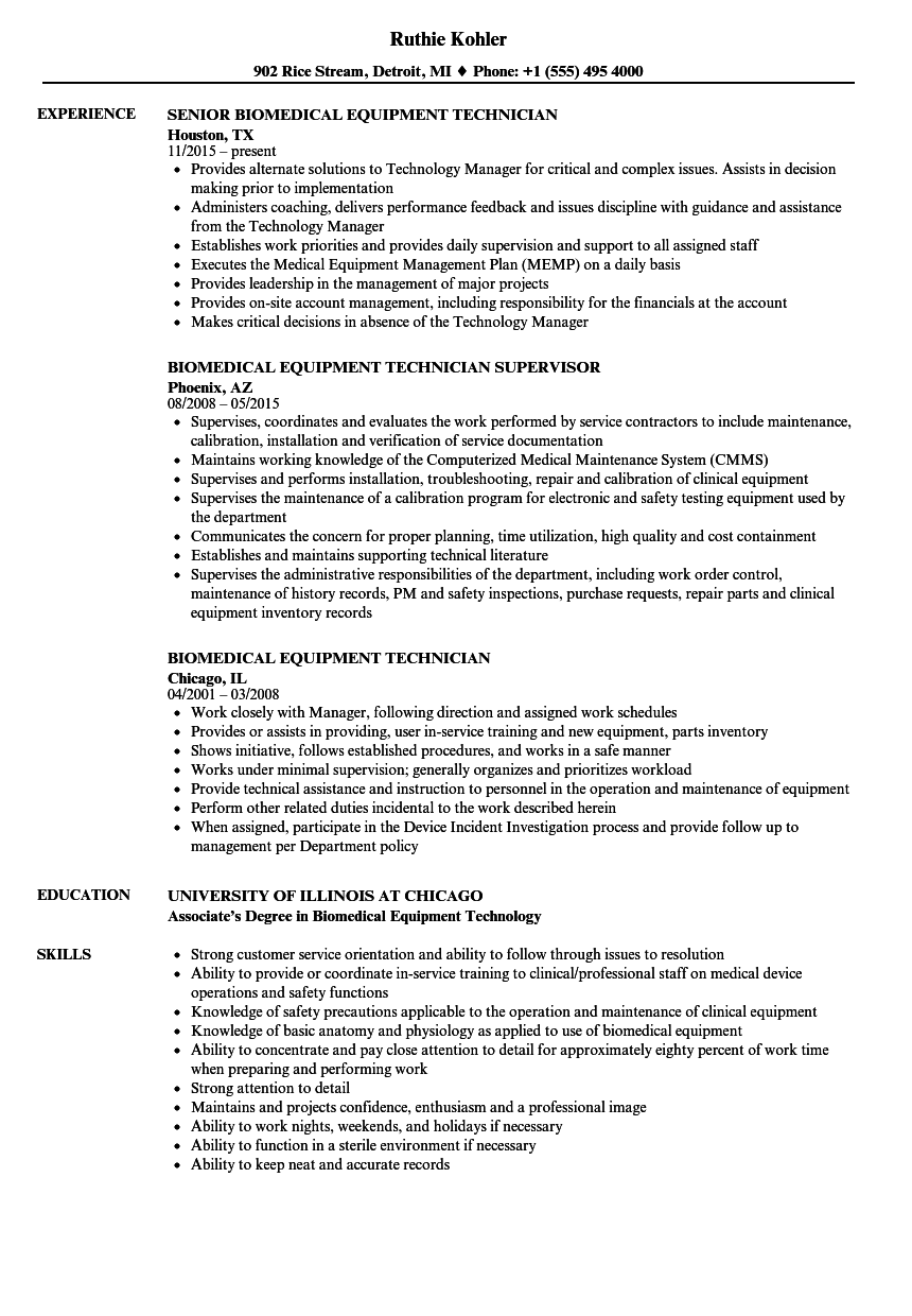 Biomedical Equipment Technician Resume Samples Velvet Jobs