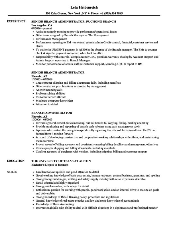 Branch Administrator Resume Samples Velvet Jobs