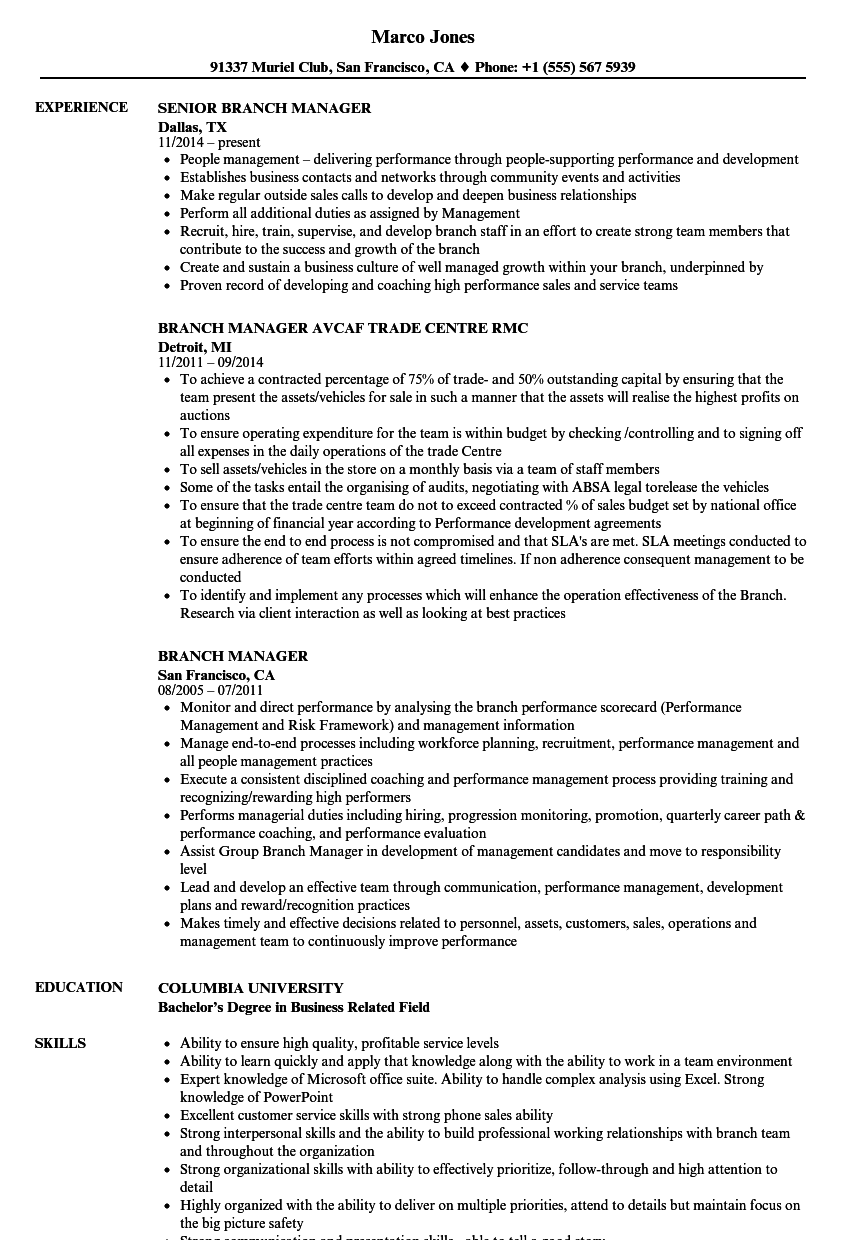 Download Branch Manager Resume Sample As Image File