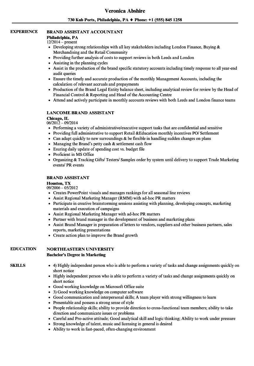 brand strategist resume sample