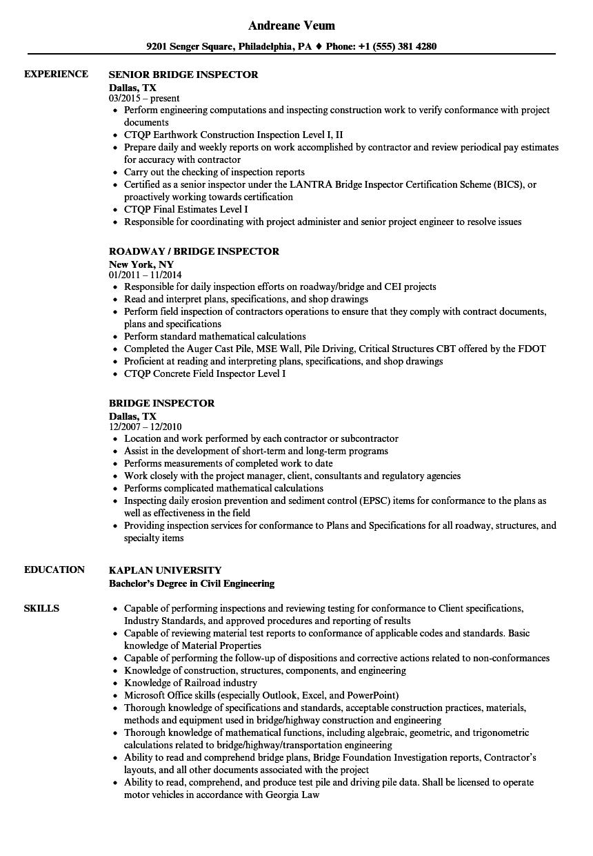 bridge building resume example