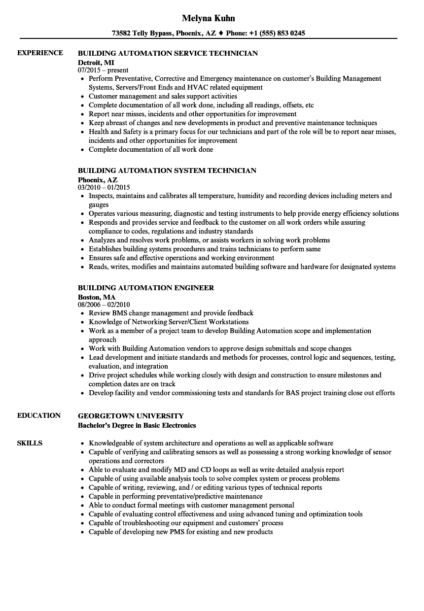Building Automation Resume Samples Velvet Jobs