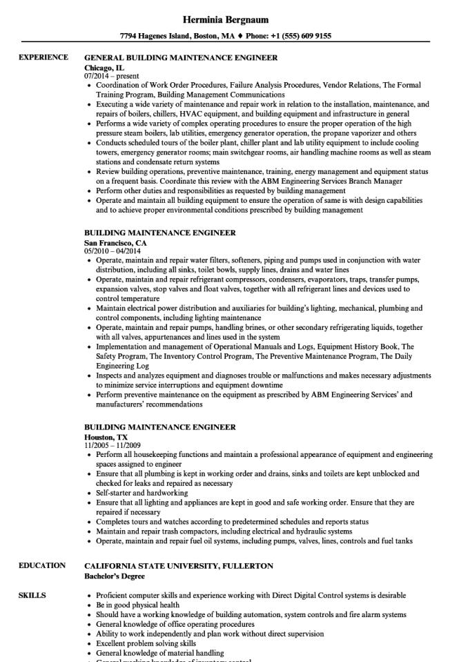 resume for building maintenance