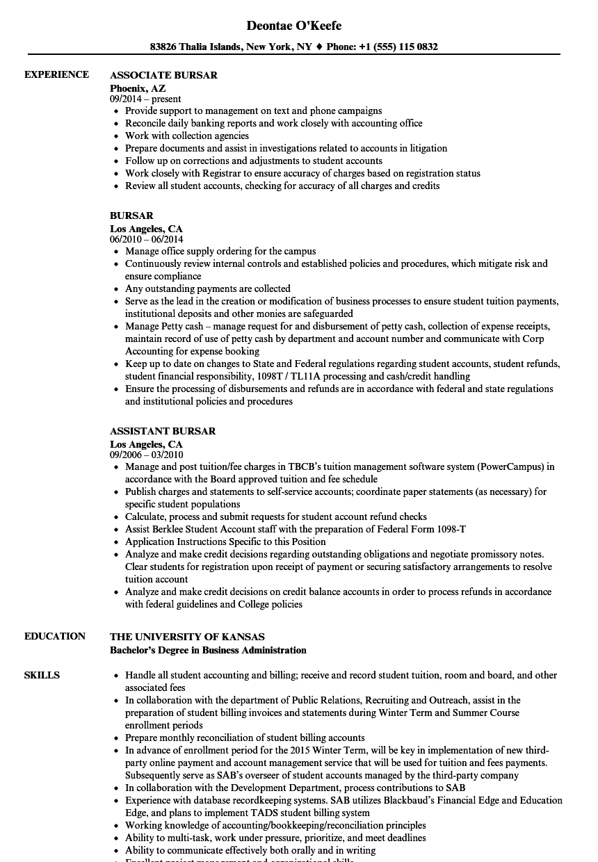 Bursar Resume Samples Velvet Jobs
