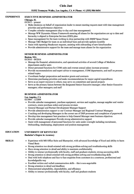 Business Administrator Resume Samples Velvet Jobs