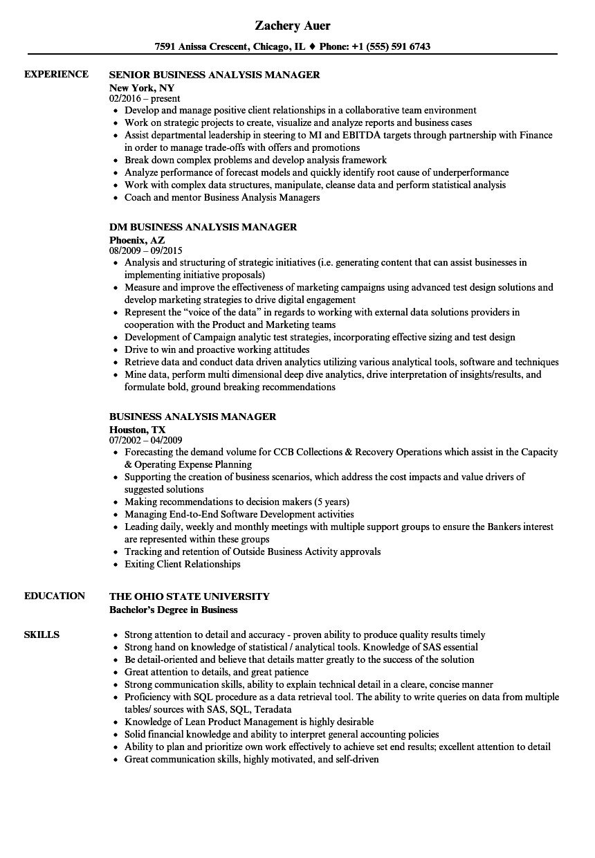 Business Analysis Manager Resume Samples Velvet Jobs