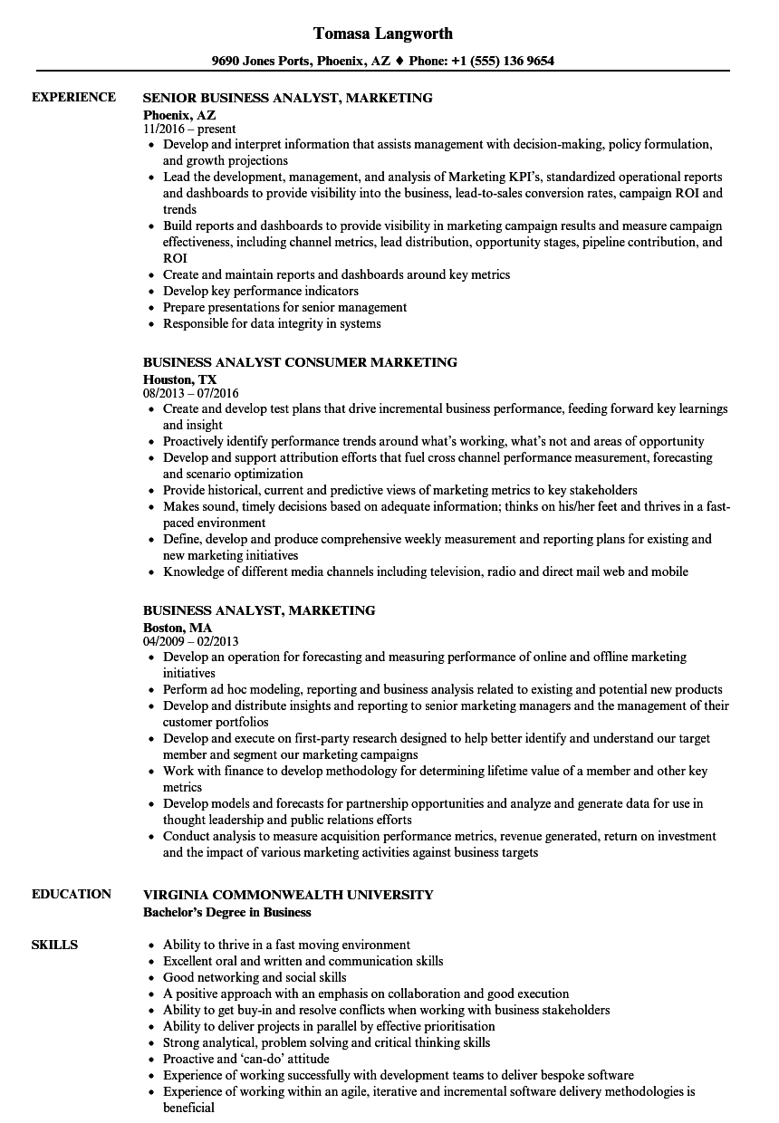 Download Business Analyst, Marketing Resume Sample As Image File