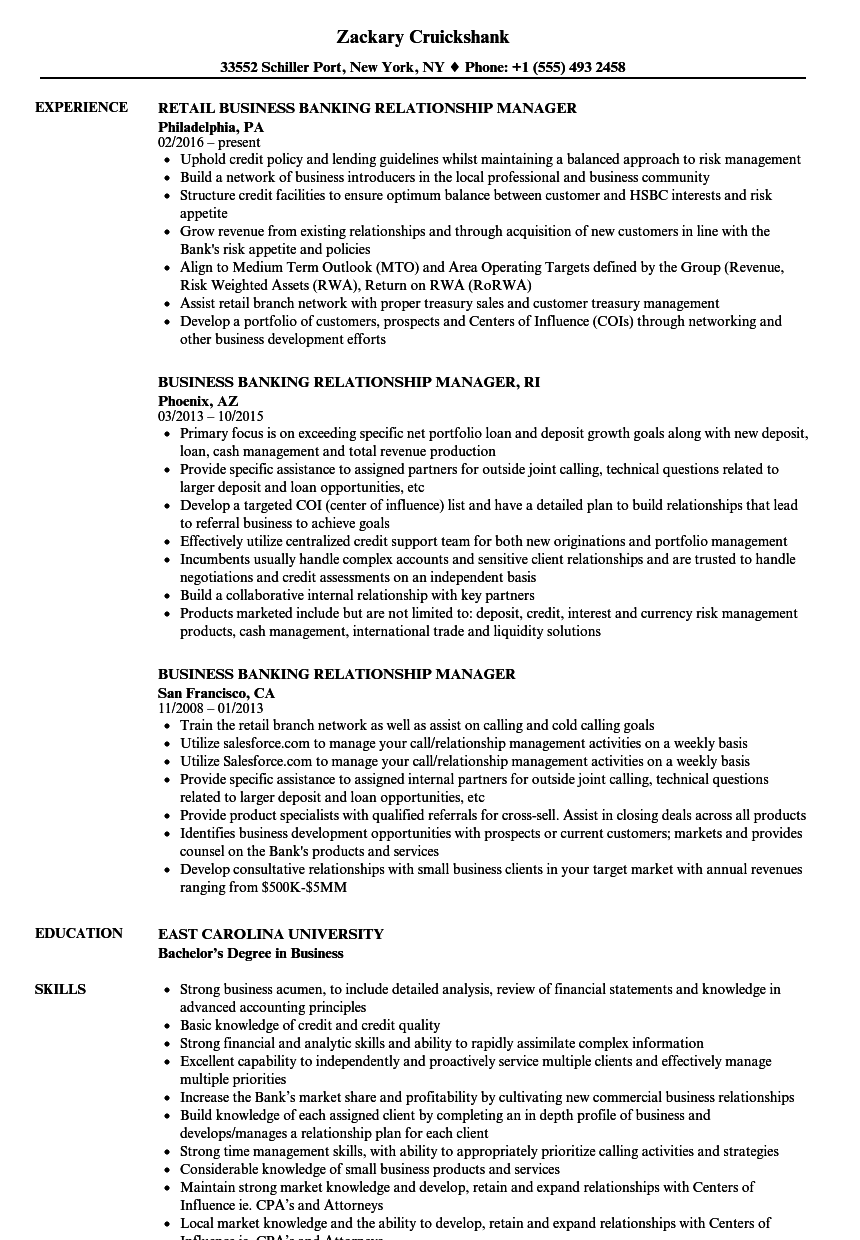 Business Banking Relationship Manager Resume Samples