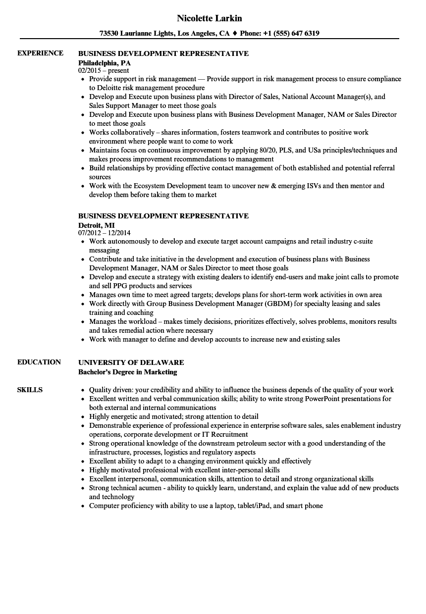 Business Development Representative Resume Samples  Velvet Jobs