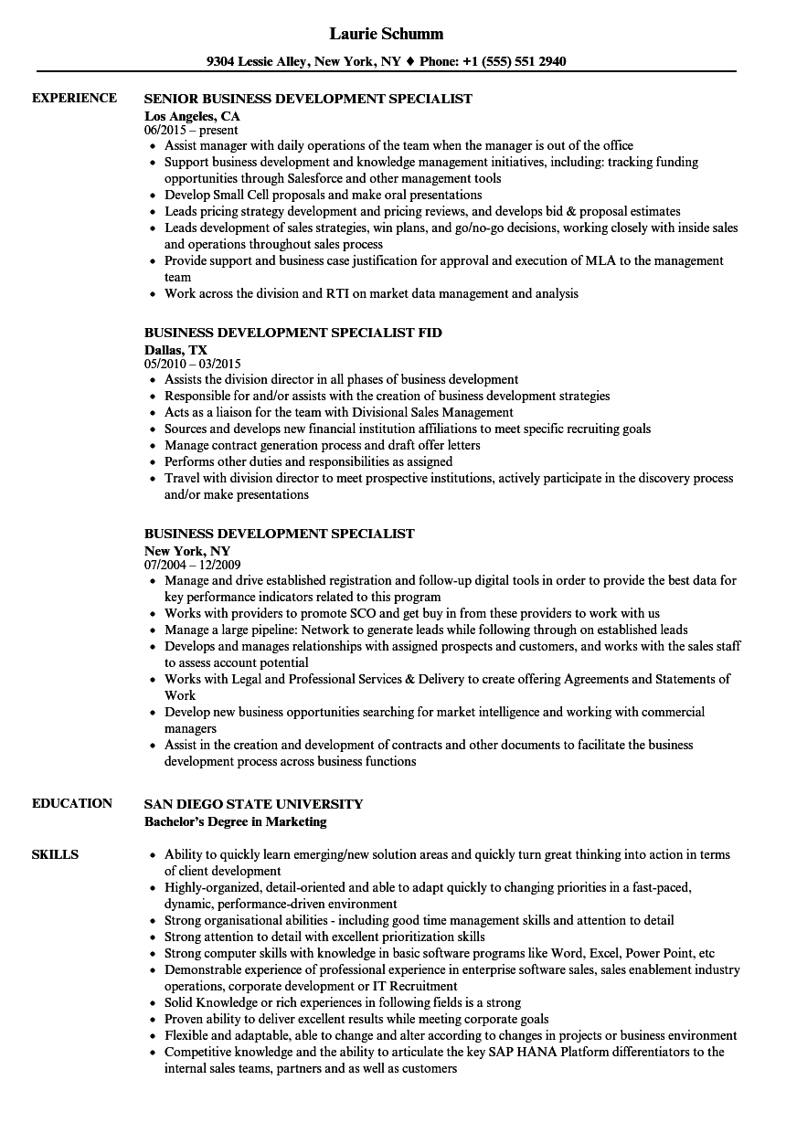 business development specialist resume