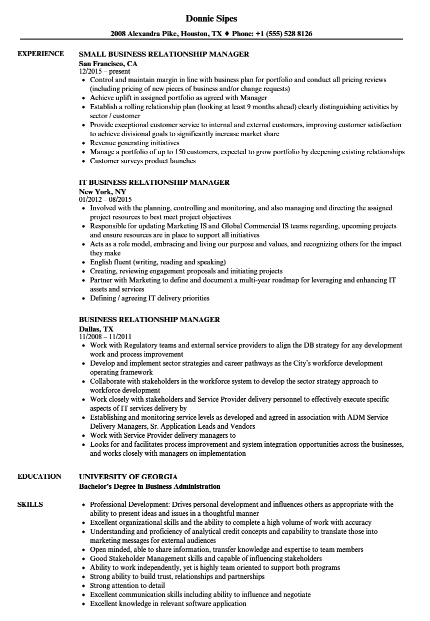 Business Relationship Manager Resume Samples Velvet Jobs