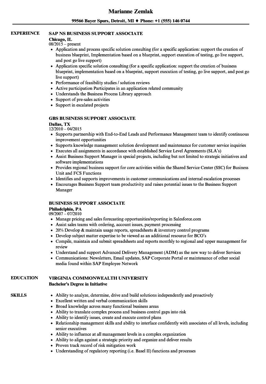 Business Support Associate Resume Samples | Velvet Jobs