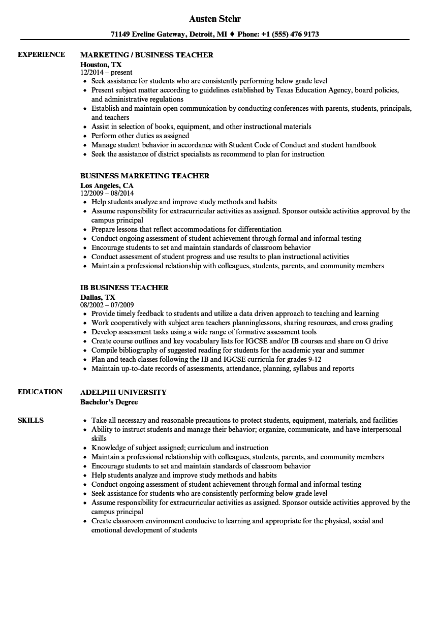 Resume Of A Teacher With Experience