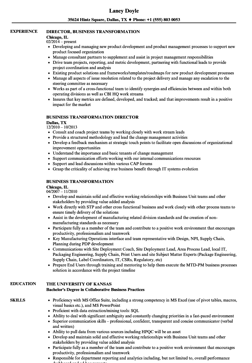 Business Transformation Resume Samples Velvet Jobs