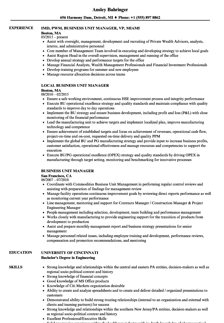 Business Unit Manager Resume Samples Velvet Jobs