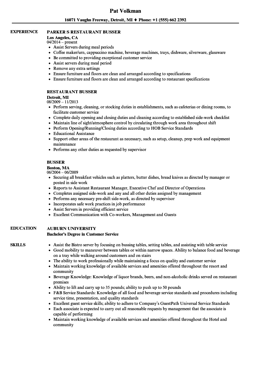 Busser Resume Samples Velvet Jobs