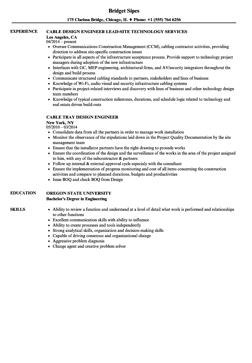 Cable Design Engineer Resume Samples Velvet Jobs