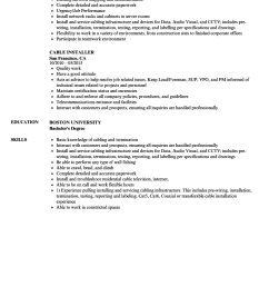 download cable installer resume sample as image file [ 860 x 1240 Pixel ]