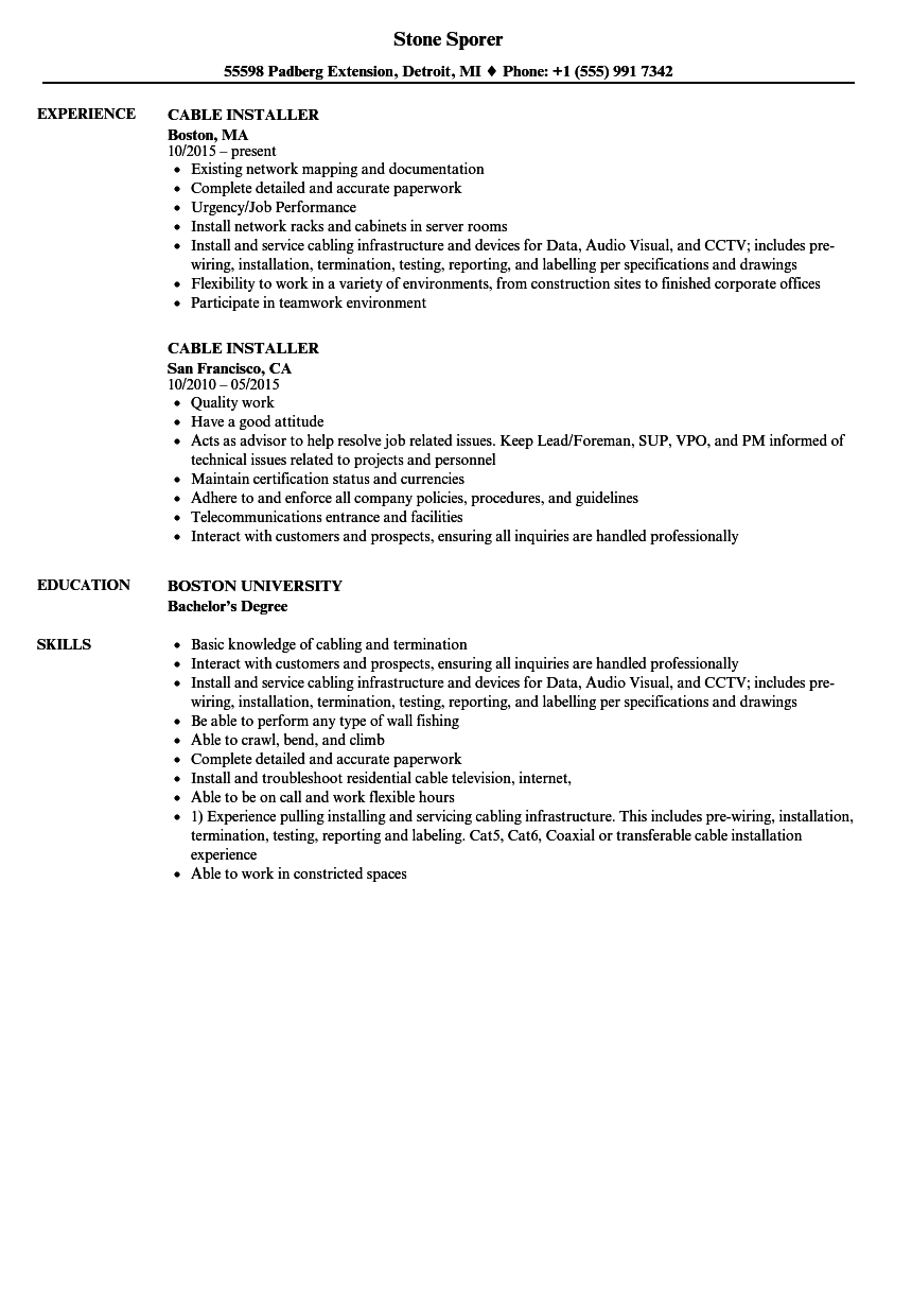hight resolution of download cable installer resume sample as image file