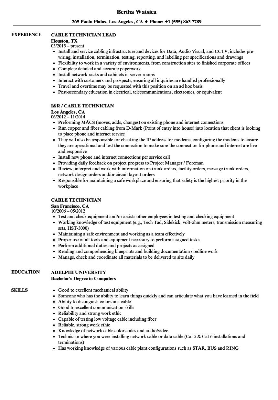 hight resolution of cable technician resume samples velvet jobs rh velvetjobs com