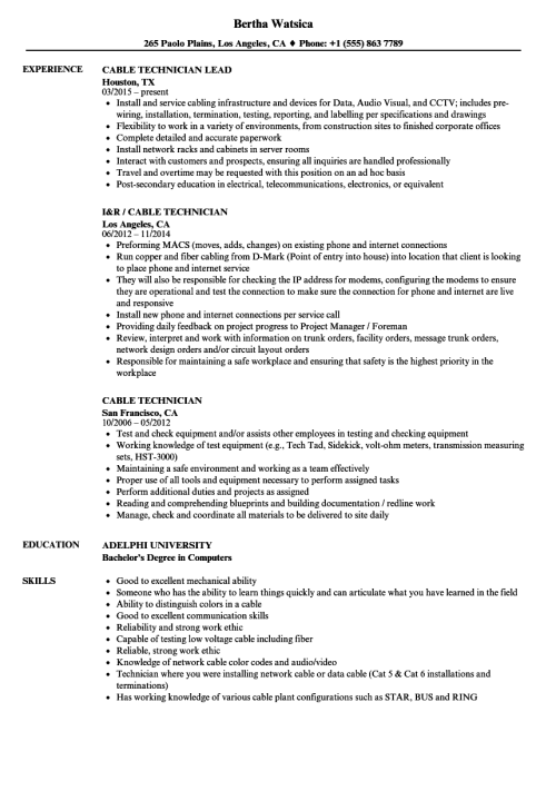 small resolution of cable technician resume samples velvet jobs rh velvetjobs com