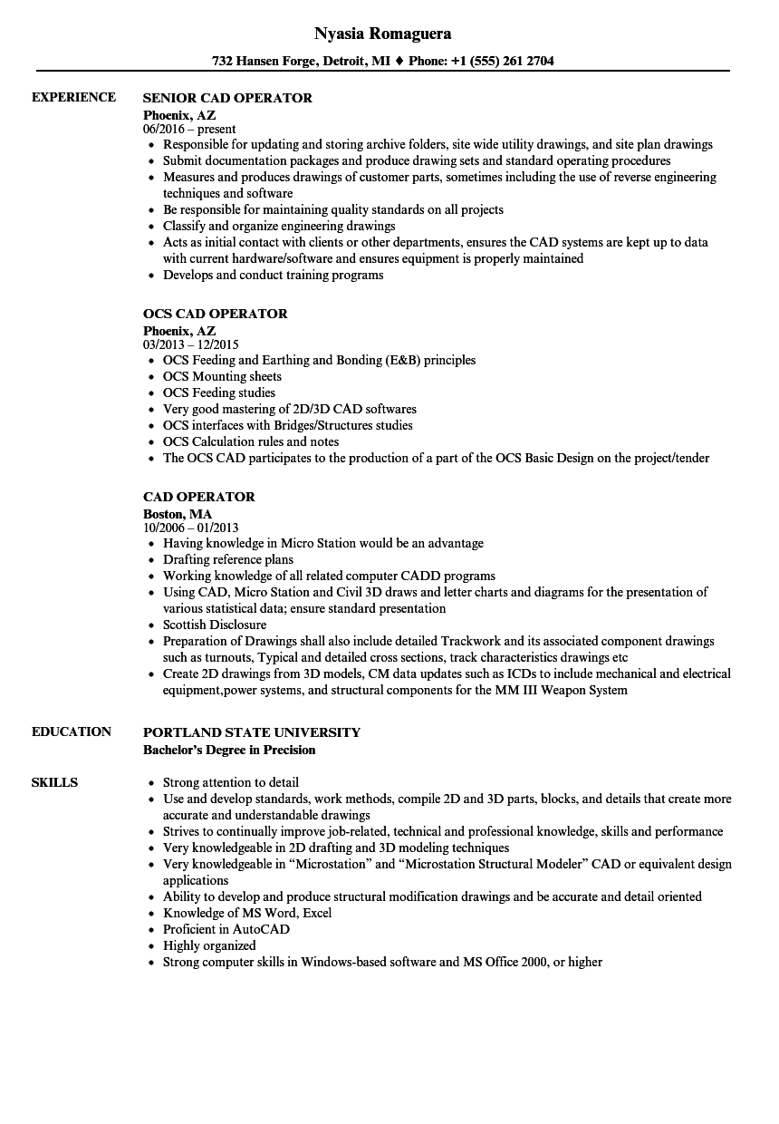 CAD Operator Resume Samples Velvet Jobs
