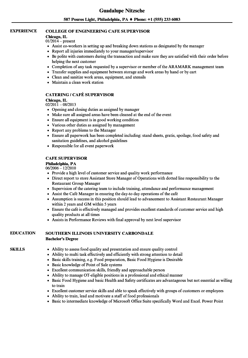 sample resume kitchen supervisor