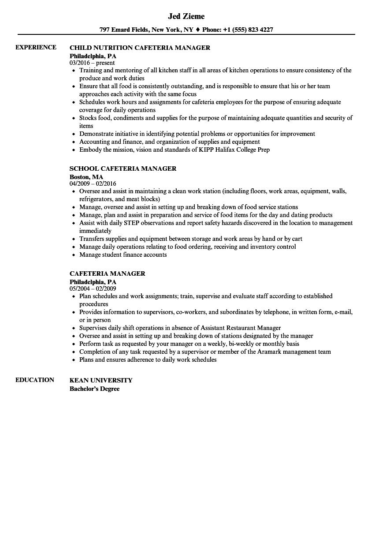 resume kitchen manager