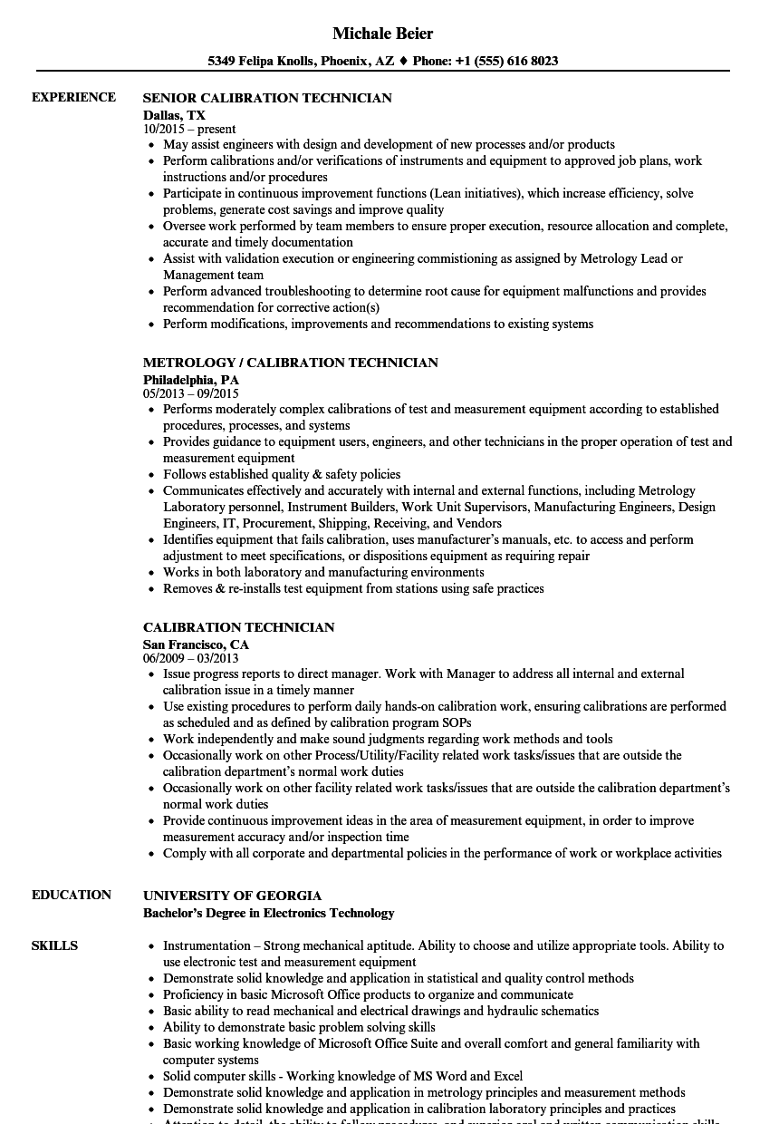 calibration technician resume sample