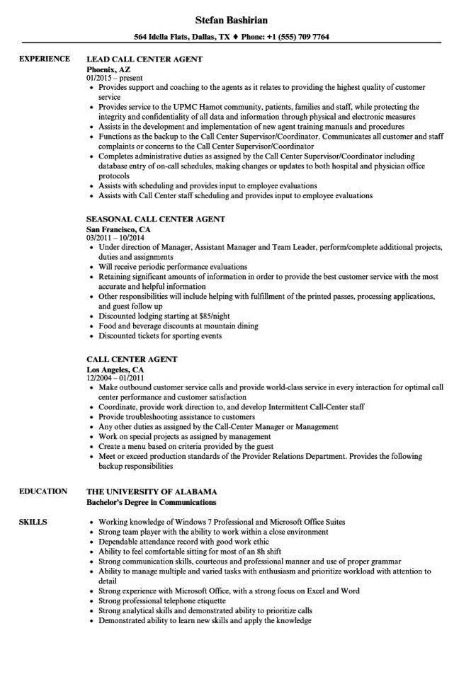 Resume For Call Center Agent Resume Sample