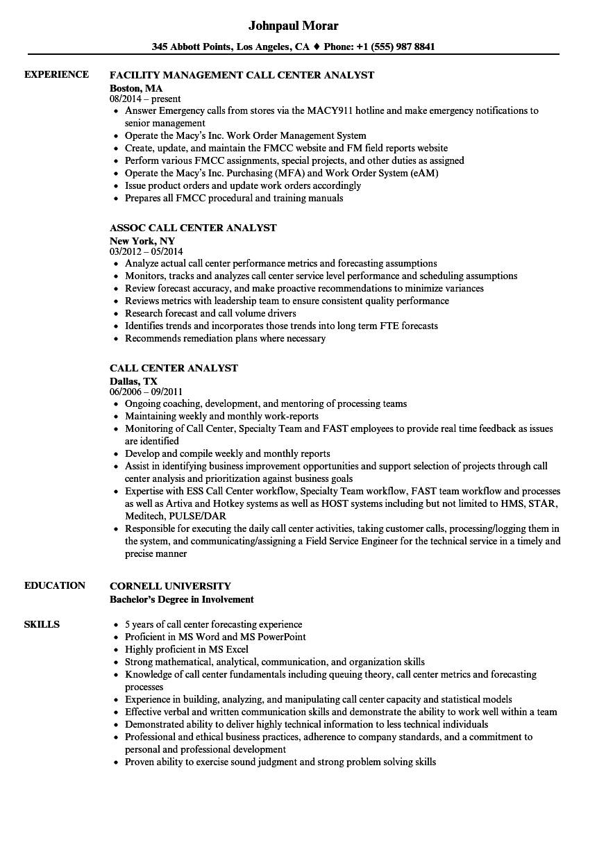 Call Center Analyst Resume Samples Velvet Jobs