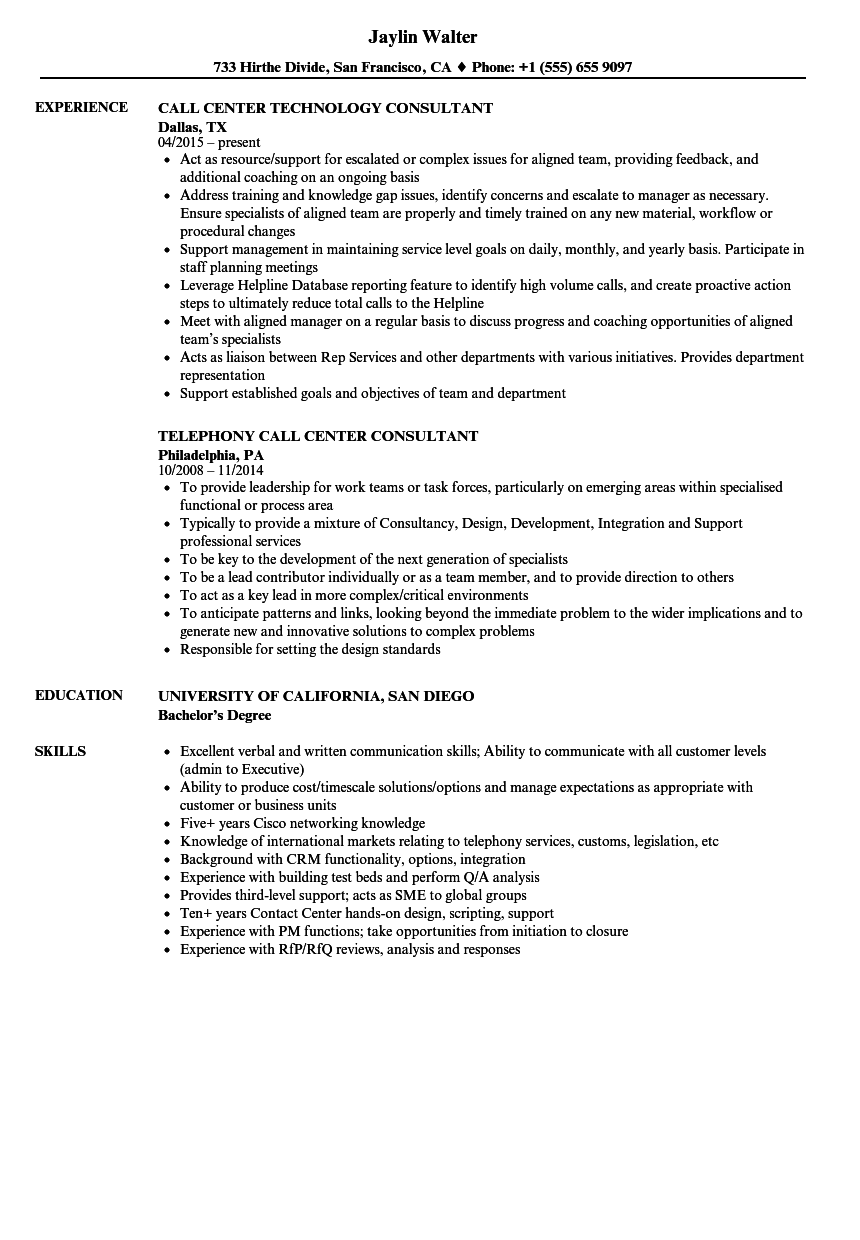 Call Center Consultant Resume Samples  Velvet Jobs