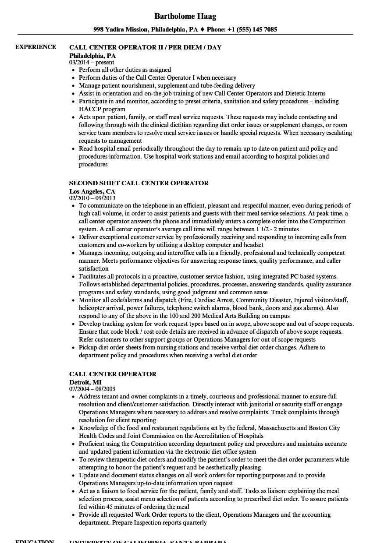 call center sample resume