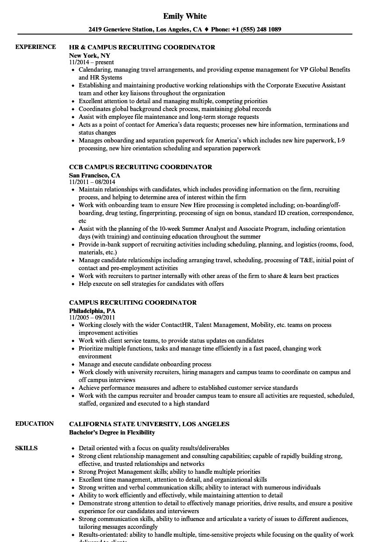 Campus Recruiting Coordinator Resume Samples Velvet Jobs