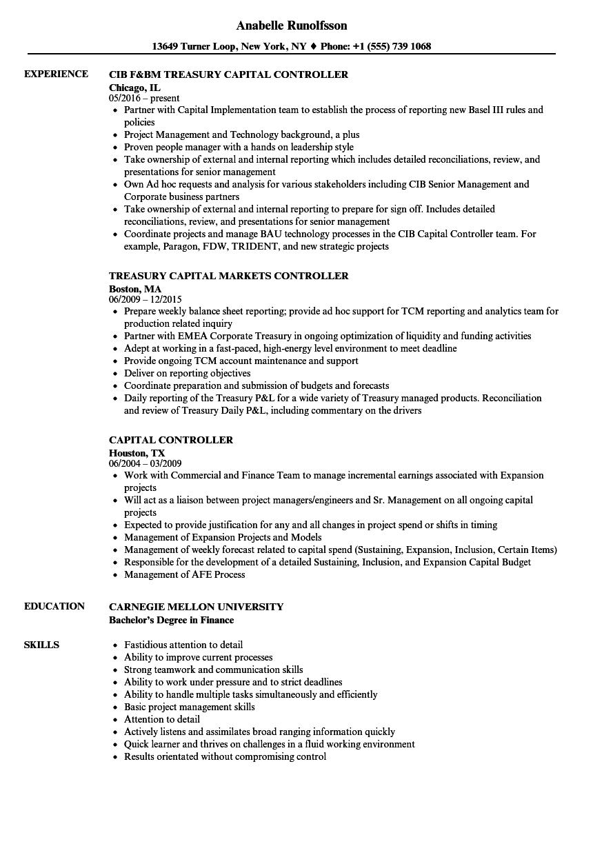 Capital Controller Resume Samples Velvet Jobs