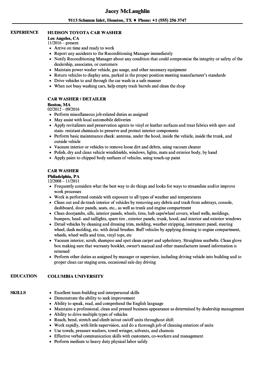 Car Washer Resume Samples Velvet Jobs