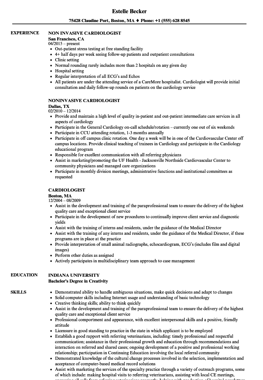 Cardiologist Resume Samples Velvet Jobs