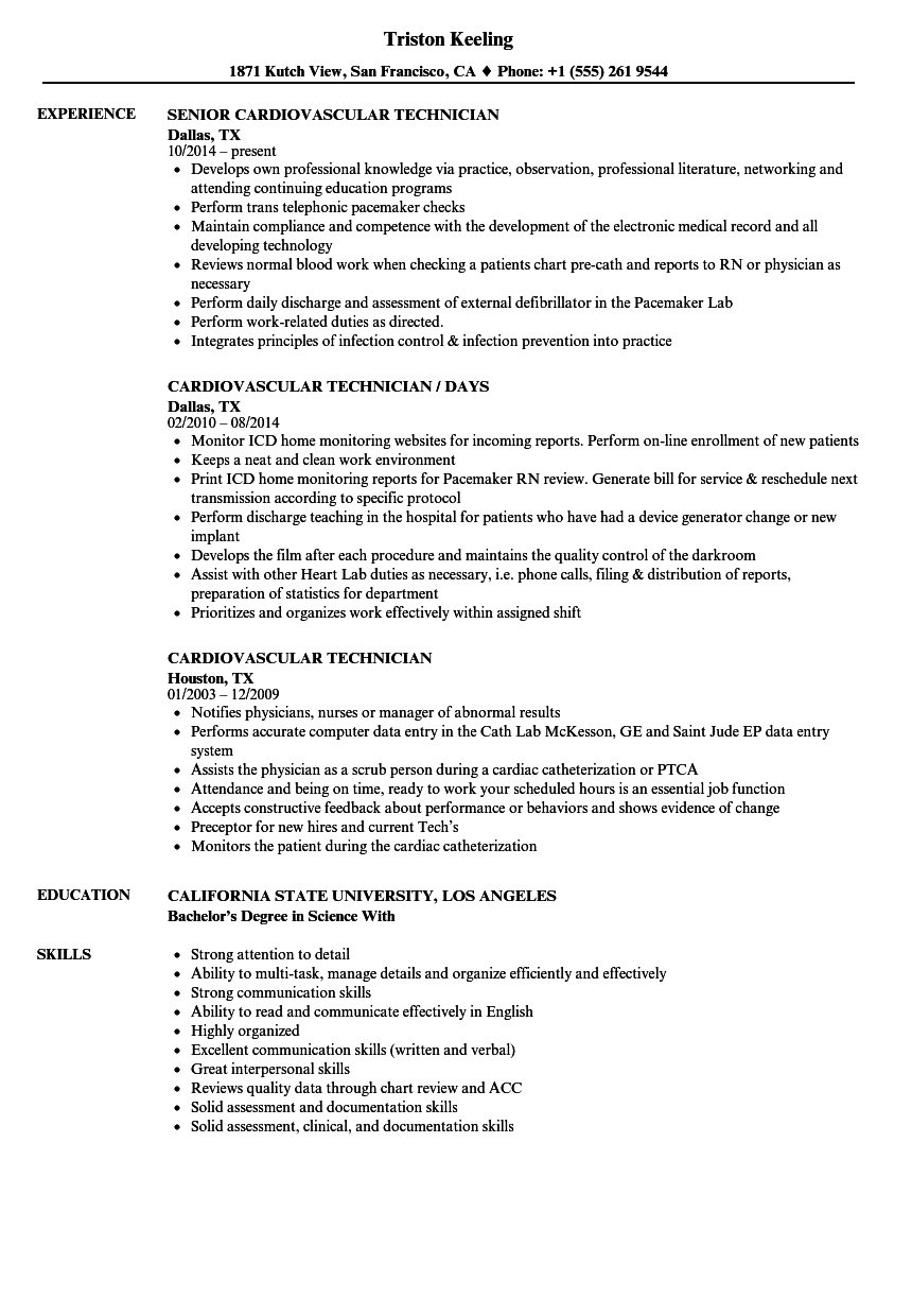 Cardiovascular Technician Resume Samples Velvet Jobs
