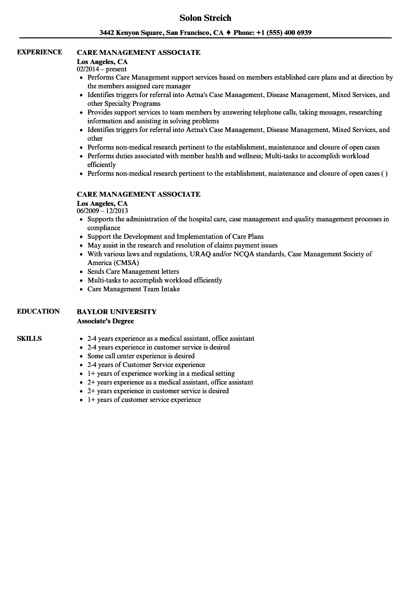 Download Care Management Associate Resume Sample As Image File