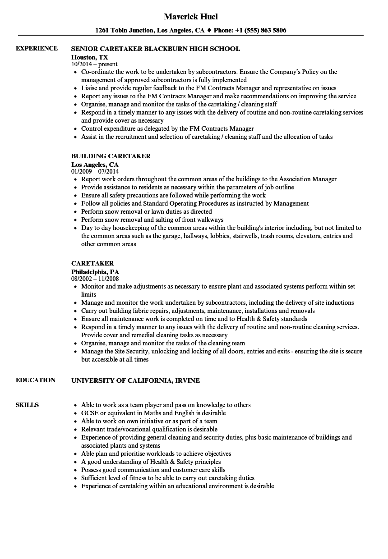 Caretaker Resume Samples  Velvet Jobs