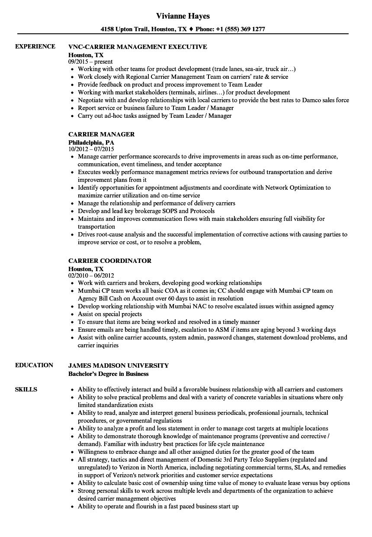 Carrier Resume Samples Velvet Jobs