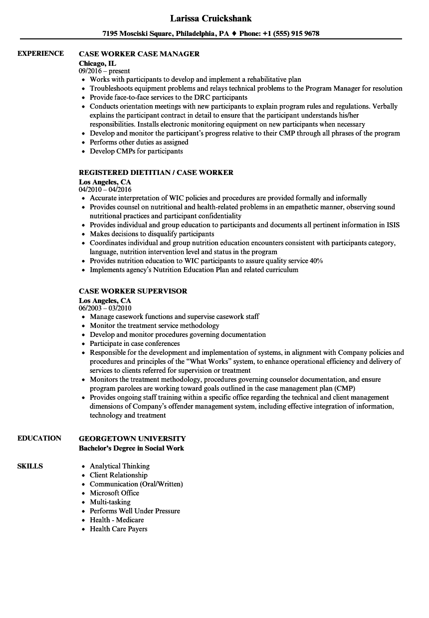 Case Worker Resume Samples Velvet Jobs