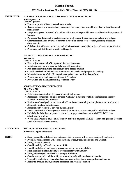 Cash Application Specialist Resume Samples  Velvet Jobs