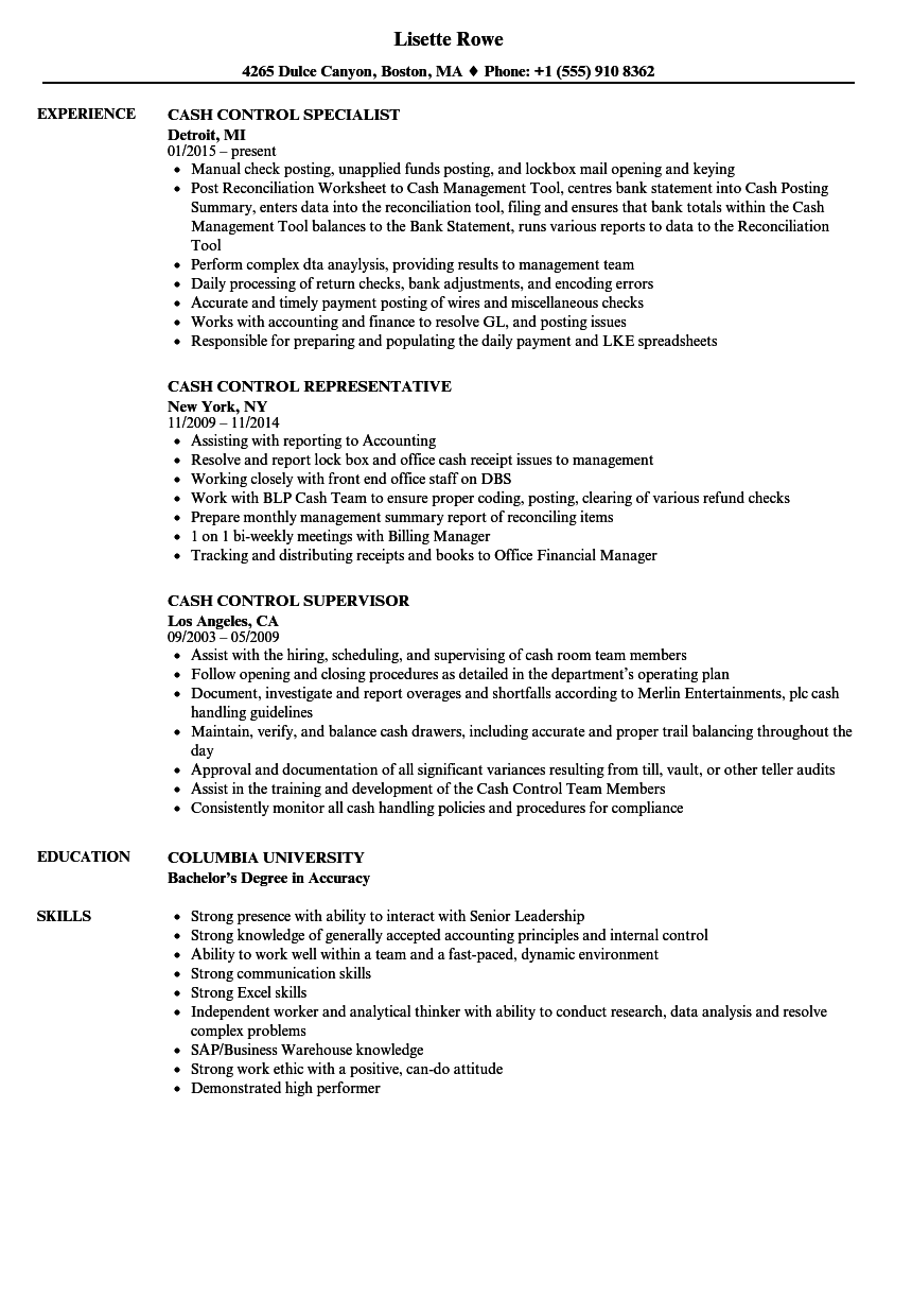 Cash Control Resume Samples Velvet Jobs