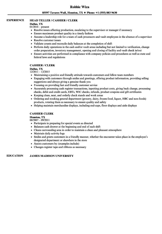 cashier clerk resume