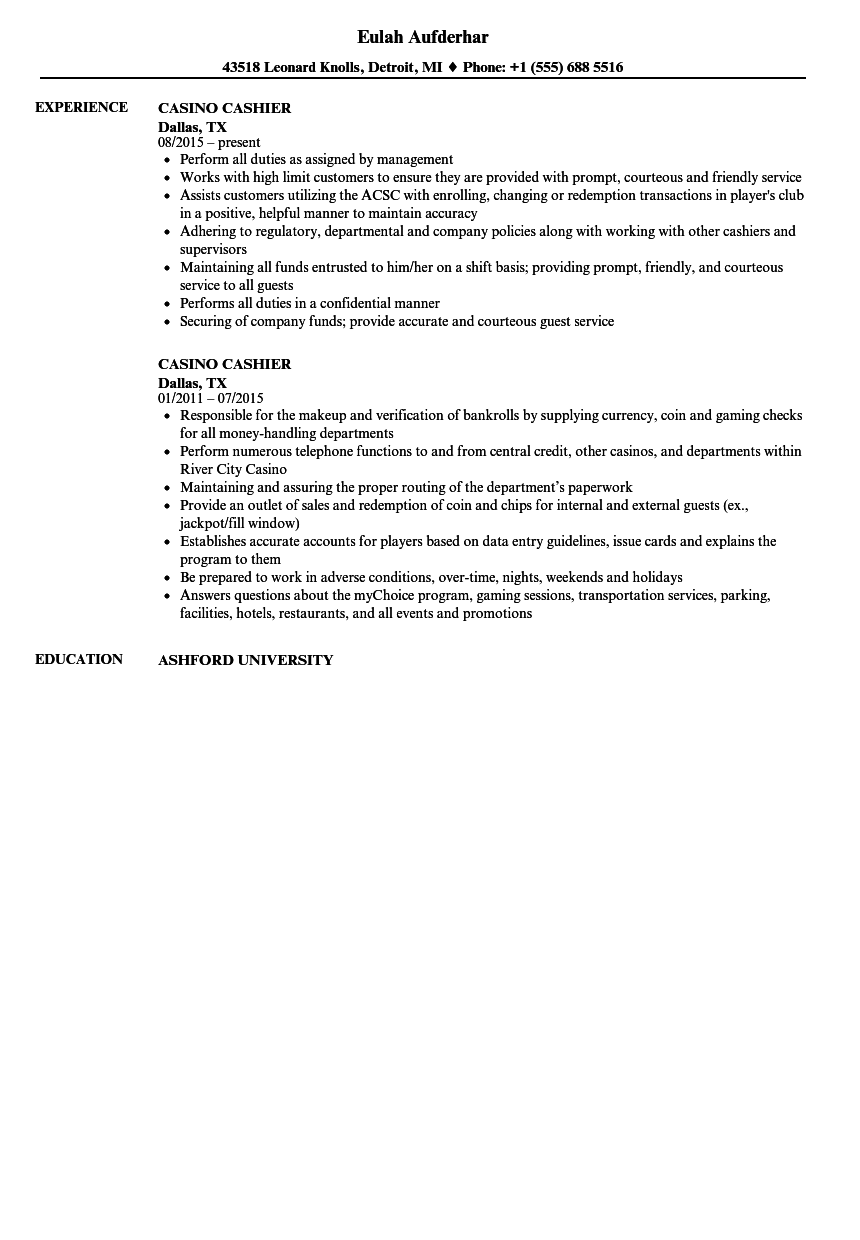 sample cashier job description resume